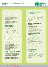 MODALITES D'EXAMEN DES DOSSIERS EN 2013 - Anfh