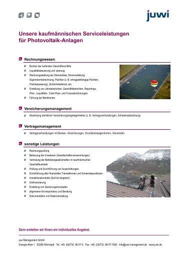 Unsere kaufmännischen Serviceleistungen für Photovoltaik ... - Juwi