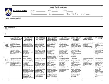 KS3 APP Writing Level grids