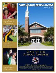 State of the School Address - North Raleigh Christian Academy