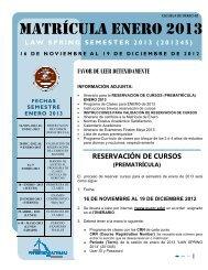 Instrucciones Matricula Enero 2013 - Escuela de Derecho