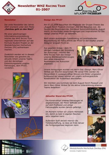 Newsletter WHZ RACING TEAM 01-2007