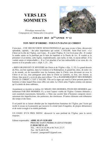 Vers les sommets de juillet 2013 - Ton mot d'ordre - La Porte Latine