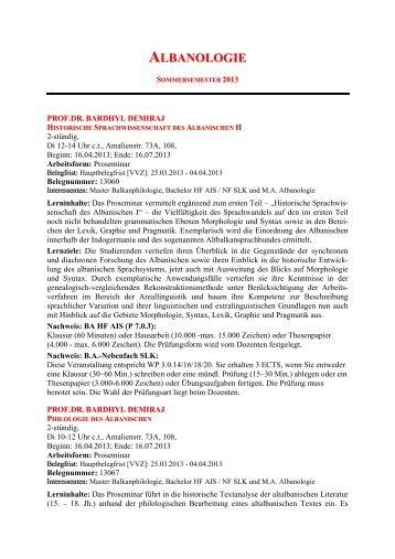Download ' Kommentiertes Vorlesungsverzeichnis ... - Albanologie