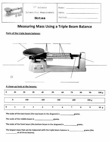 Printables Triple Beam Balance Worksheet reading a triple beam balance worksheet measurement mass and volume mr gibbs 39 science how to read balance
