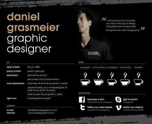 daniel grasmeier graphic designer - on the website of roadiegraphics