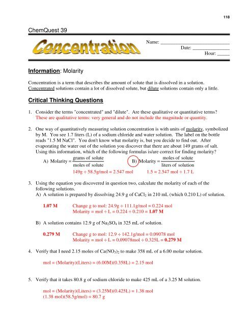 ChemQuest 39 41Answers