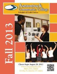 Fall 2013 Credit Course Schedule - Asnuntuck Community College