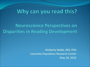 Neuroscience and Disparities in Reading Development