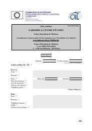 Fiche sanitaire Garderie - Ecole Européenne de Luxembourg I