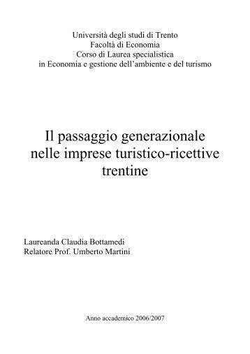 Il passaggio generazionale nelle imprese turistico-ricettive ... - ASAT