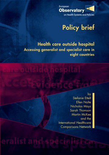 Policy brief Health care outside hospital - SNSPMS