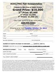 ACEC/PAC Sweepstakes ticket - ACEC of Washington