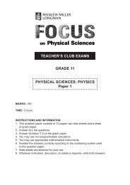 TEACHER'S CLUB EXAMS GRADE 11 PHYSICAL SCIENCES ...