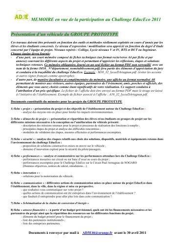MEMOIRE en vue de la participation au Challenge EducEco 2011 ...