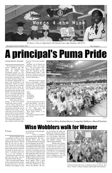 Wise Wobblers walk for Weaver - Prince George's County Public ...