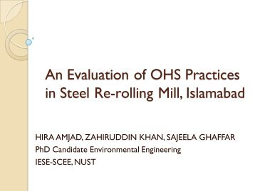 A Case Study on OHS Practices in Steel Re-rolling Mill, Islamabad