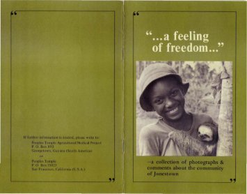 A Feeling of Freedom - Alternative Considerations of Jonestown ...