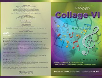 Collage VI - MSU College of Music - Michigan State University