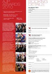 ajp awards 2010 booking details - Australian Pharmaceutical ...