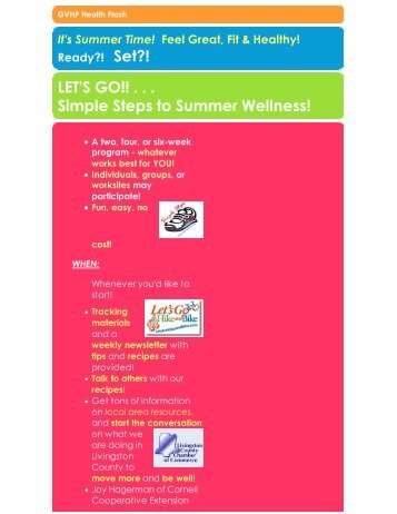 Feel Great, Fit & Healthy! - Livingston County Chamber of Commerce
