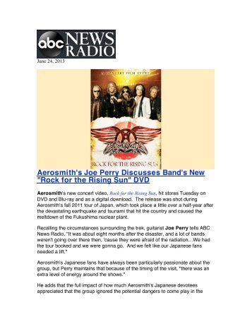"""Aerosmith's Joe Perry Discusses Band's New """"Rock for the Rising ..."""