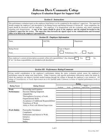 Support Staff Performance Evaluation Form  Albright College