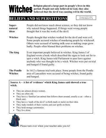 BELIEFS AND SUPERSTITIONS - School History