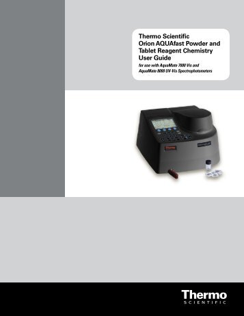 AQUAfast Reagent Instructions - Cole-Parmer