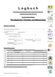 Logbuch für Physikalische Therapie - Initiative Neue Ärzte