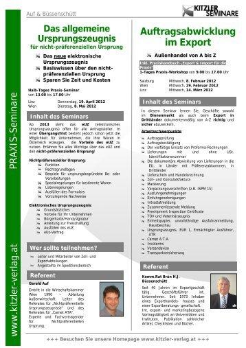 Auftragsabwicklung im Export Praxis-Seminare www.kitzler-verlag.at