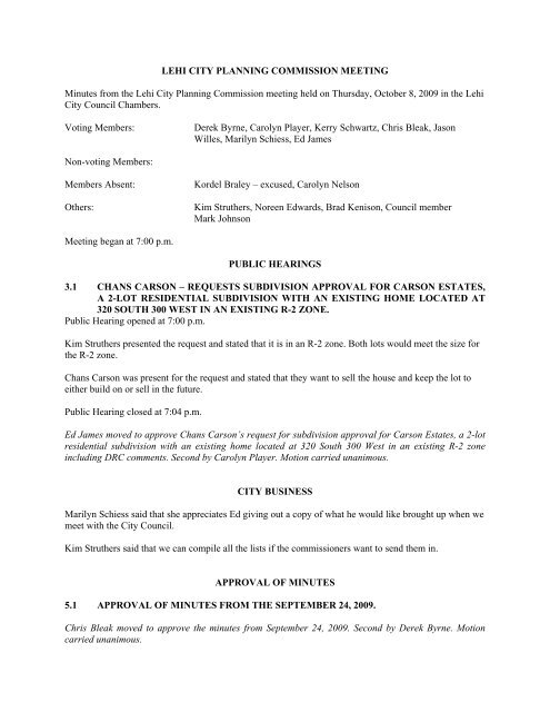 LEHI CITY PLANNING COMMISSION MEETING Minutes from the ...