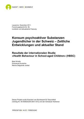 Konsum psychoaktiver Substanzen Jugendlicher in der Schweiz ...