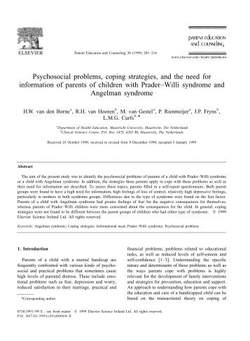 Psychosocial problems, coping strategies, and the need for ...