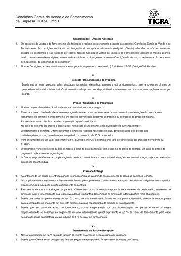 Condições Gerais de Venda e de Fornecimento da Empresa TIGRA ...