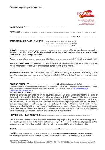 Kayaking/walking booking form. NAME - Jersey Kayak Adventures
