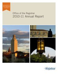 2010-11 Annual Report - Office of the Registrar - The University of ...