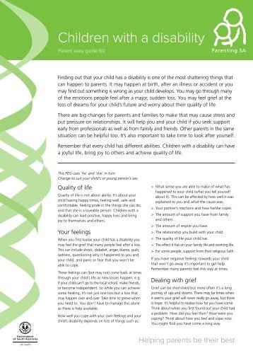 Children with a disability - Parent Easy Guide (PEG ... - Parenting SA