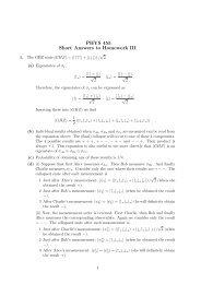 PHYS 455 Short Answers to Homework III