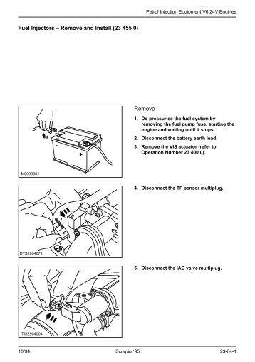 Injectors  Remove and Install 23 455 0 Remove  Ford Scorpio