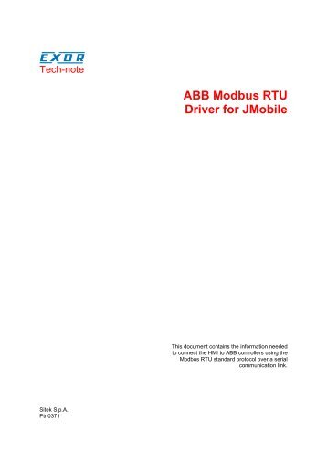 ABB Modbus RTU Driver for JMobile