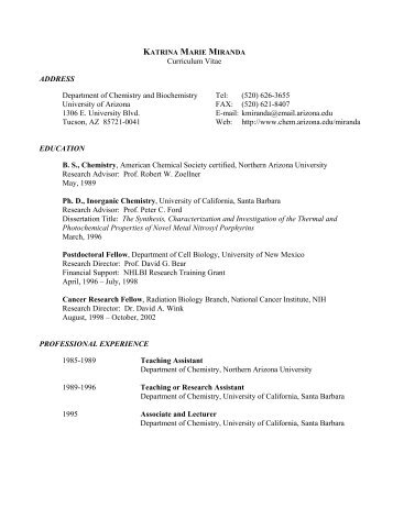 Curriculum Vitae ADDRESS Department of Chemistry and ...