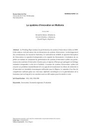 Le système d'innovation en Wallonie - Bureau fédéral du Plan