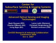 advanced optical sensing & imaging technologies - CenSSIS