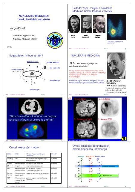 NM célja, területei, eszközei - Nukleáris Medicina Intézet