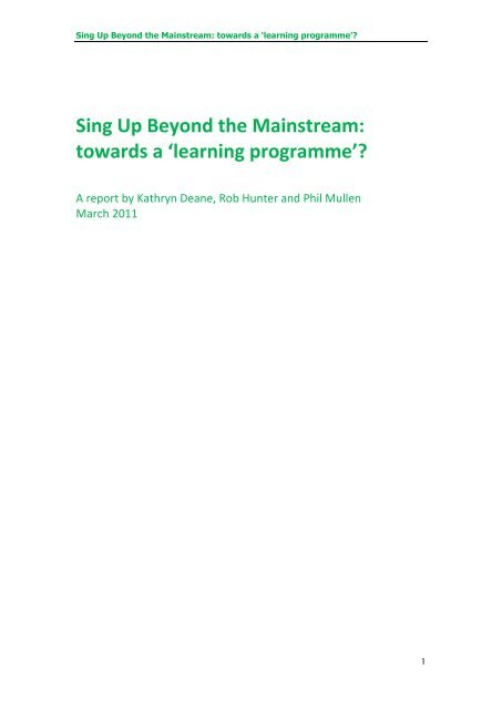 Sing Up Beyond the Mainstream: towards a 'learning programme'?