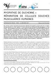 MYOPATHIE DE DUCHENNE : RÉPARATION DE CELLULES ...