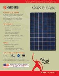 KD 200-54 F Series - KYOCERA Solar - Matrix Energy
