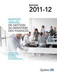 Le rapport annuel de gestion 2011-2012 du ministère des Finances