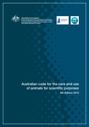 Australian code for the care and use of animals for scientific purposes